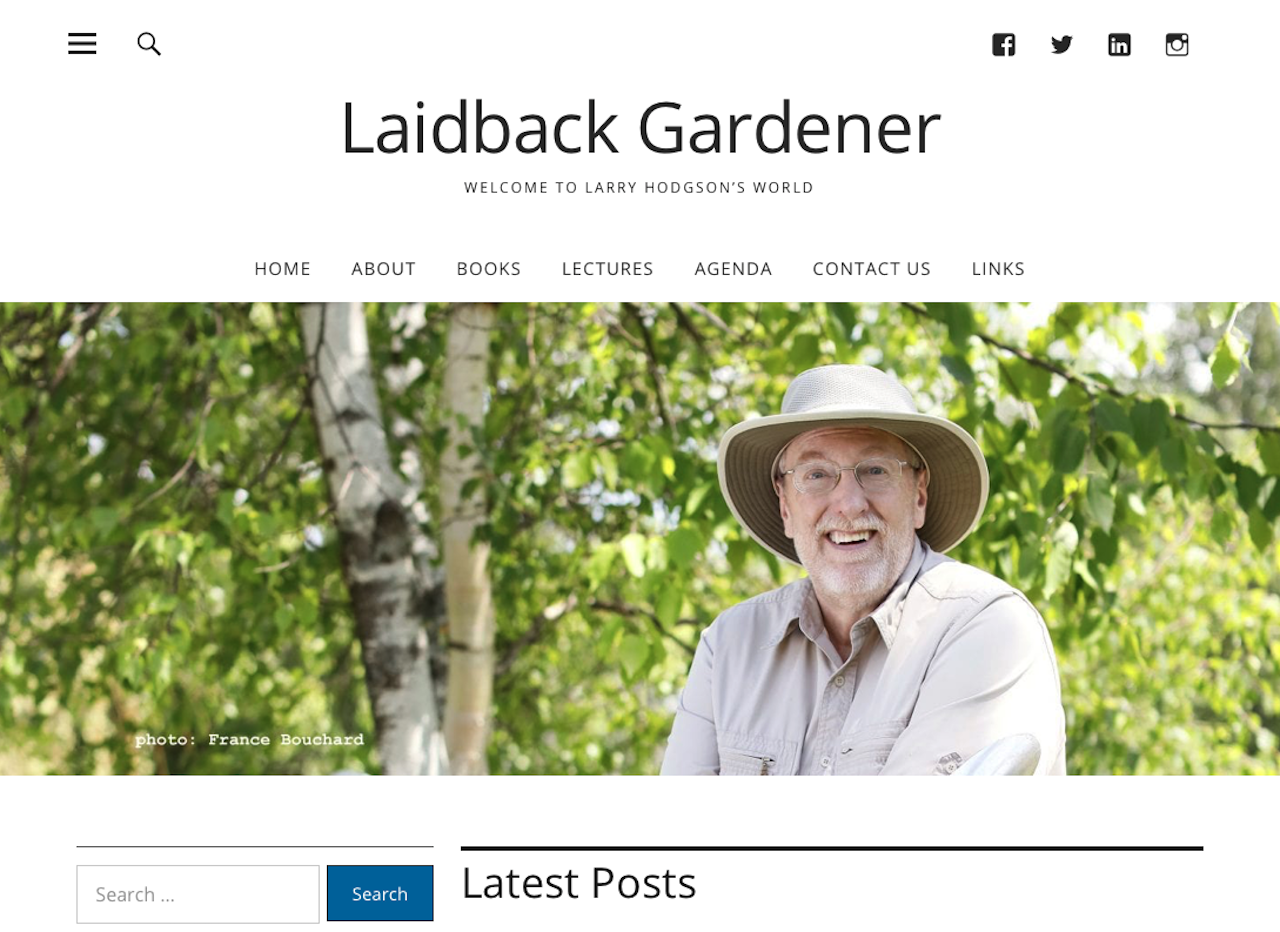 Top of page of the new Laidback Gardener web site.