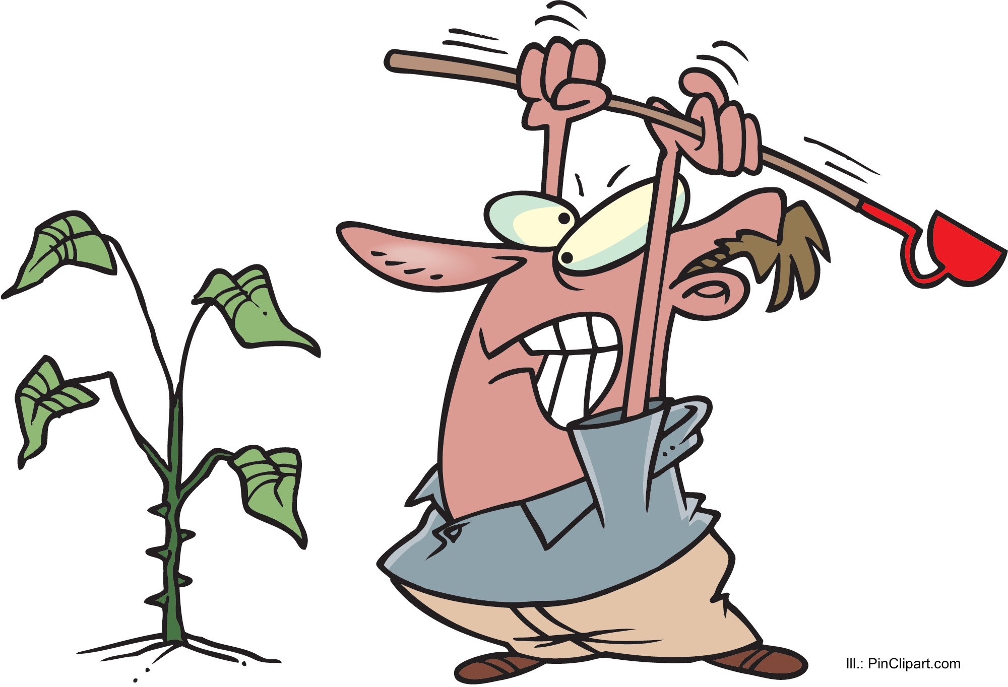 Gardener frustrated by a weed